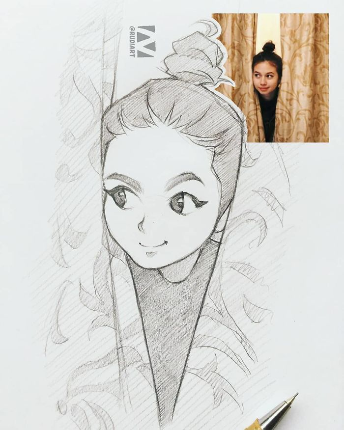This Illustrator Sketches People As Anime Character And The Result