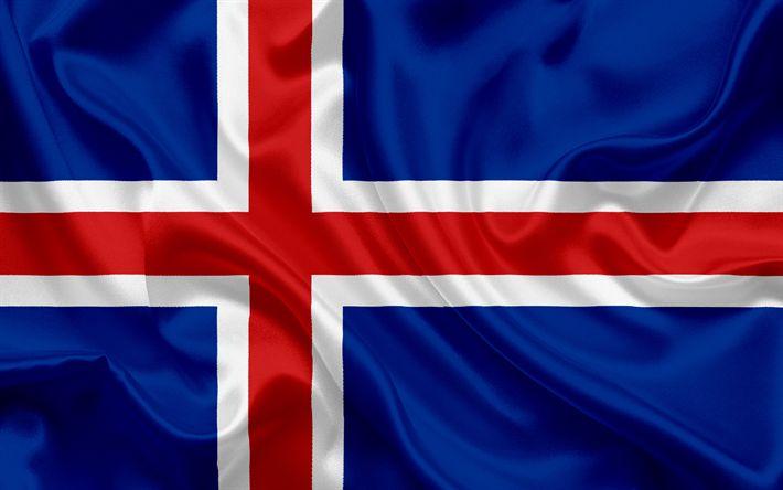 Télécharger fonds d'écran Islandais drapeau, de l'Islande, de l'Europe, de la soie du drapeau, le drapeau de l'Islande