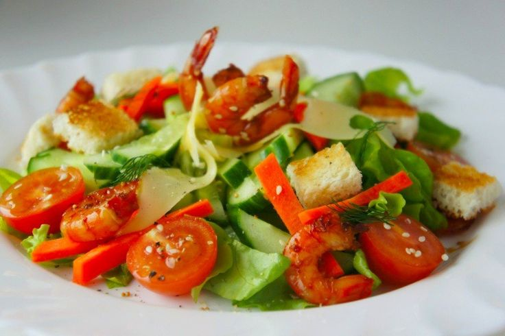 Vegetable salad with shrimps Ingredients: Cucumbers — 2 pcs. Cherry tomatoes — 5 pcs. Carrots — 1 pc. Shrimp (peeled, boiled) — 200 g Butter — 20 g hard cheese — 20 g White wine (dry) — 2-3 tbsp. l. White bread — 2 pieces Vegetable oil — 2 tbsp. l. Lemon juice — 1 …