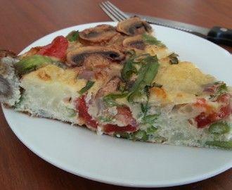 Hierbij het recept voor een koolhydraatarme frittata. Frittata is een gerecht uit Italië, die eigenlijk uit armoede is ontstaan