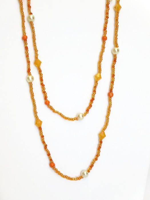 Orange Double Wrap Necklace / Beaded Necklace / Long Necklace for Women / Wrap Necklace / Long Orange Necklace / Fashion Jewelry / Accessory
