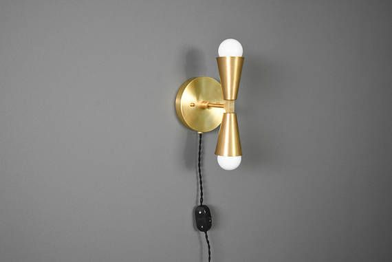 Plug In Wall Sconce Vanity Raw Br