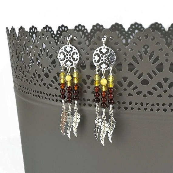 Sterling Silver Baltic Amber Dreamcatcher Earrings; made by Agnaart https://www.etsy.com/listing/557869378/sterling-silver-amber-dreamcatcher