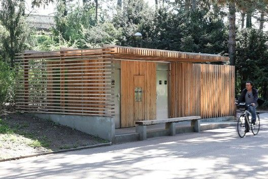 Public Restrooms in France, pretty clean use of wood and concrete