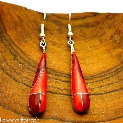 Silver-Earrings-Handmade-Dangling-Fashion-Jewelry-Red-Jasper-Teardrop-Alpaca