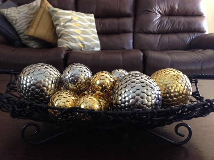 Dollar store decor-push pins and styrofoam balls!