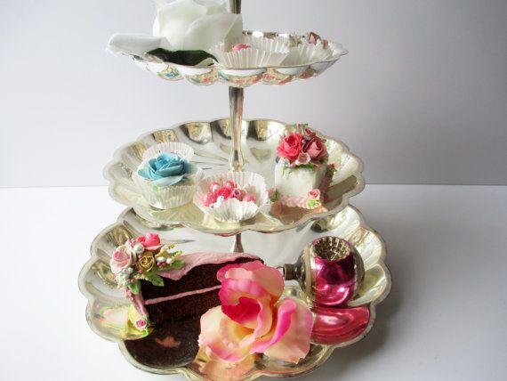 Vintage Silverplate Four Tier Dessert Stand International