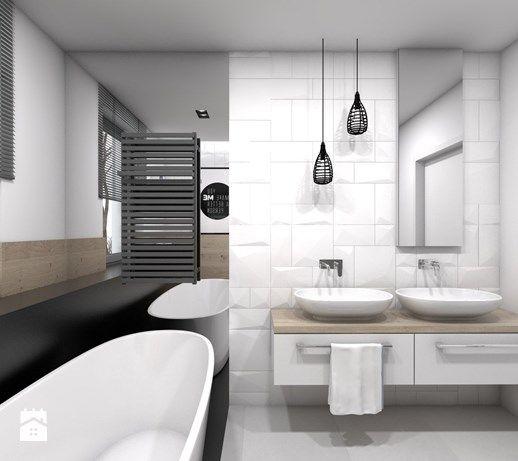 Aranżacje wnętrz - Łazienka: Projekt domu jednorodzinnego 3 - Średnia łazienka w domu jednorodzinnym jako salon kąpielowy z oknem, styl skandynawski - BAGUA Pracownia Architektury Wnętrz. Przeglądaj, dodawaj i zapisuj najlepsze zdjęcia, pomysły i inspiracje designerskie. W bazie mamy już prawie milion fotografii!