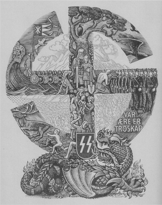 "A poster promoting the Waffen-SS ""Frikorps Danmark"" Danish Foreign Legion. It depicts a traditional Viking swastika containing varying scenes of Danish history. The emblem itself is seen crushing a dragon, the mythical creature, commonly a foe to the Nordic heroes in numerous Viking sagas. The Soviet Union was to be the new dragon foe as to instill that old warrior spirit within the Danish volunteers."