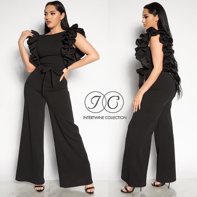 a0dd6934746 NEW IN Our new  RE-DEFINE FASHION RUFFLE JUMPSUIT - BLACK! Model is ...