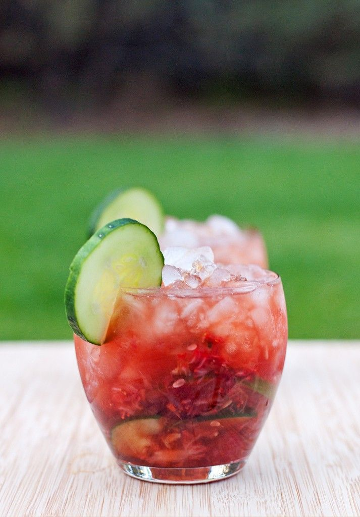 Strawberry Balsamic Smash - The sweet and tart balsamic vinegar pairs really well with the fresh fruit, cucumbers, and earthy flavor of the gin.