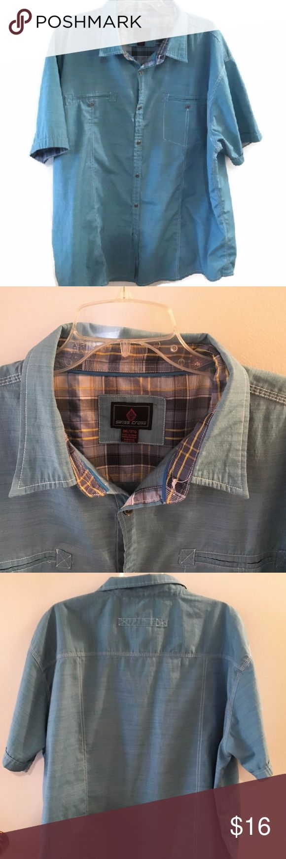 "Swiss Cross Blue Button Shirt - 3XL Men's 3TG Swiss Cross Shirt  60% Cotton / 40% Polyester Short Sleeve Size 3XL/3TG Length: 31 Armpit to Armpit: 30""  ** EXCELLENT Used Condition ** Kept in Smoke Free Home Swiss Cross Shirts Casual Button Down Shirts"