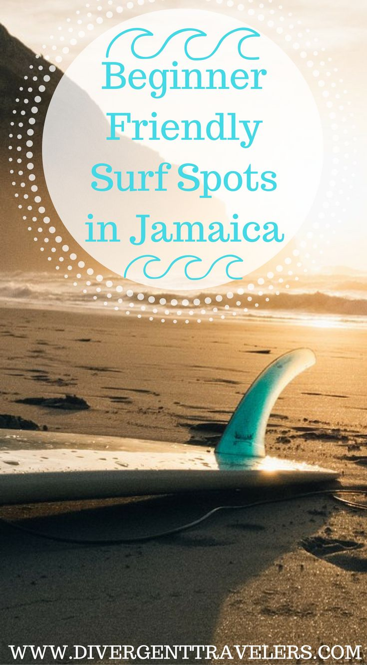 Beginner friendly surf spots in Jamaica. Although the Caribbean island of Jamaica is best known for its calm seas, laid back atmosphere, white sand beaches and all inclusive jamaica resorts, the island of Jamaica is becoming known as one of the premier surfing location in the Caribbean. Click to read the full travel blog post by the Divergent Travelers Adventure Travel Blog https://www.divergenttravelers.com/surfing-in-jamaica/ #jamaica #adventure #travel #surfing