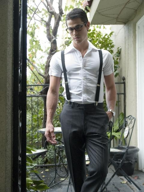Mens short sleeve shirt, suspenders and pinstripe pants