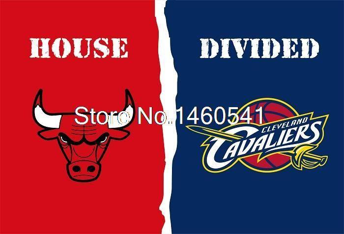 Чикаго Буллз Кливленд Кавальерс Дом, Разделившийся Флаг 3ft x 5ft Полиэстер НБА Баннер Летающий Размер № 4 144*96 см QingQing Флаг