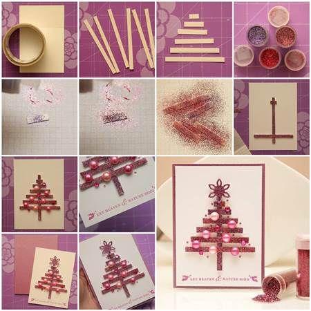 DIY Glittering Strips Christmas Tree Card | iCreativeIdeas.com Follow Us on Facebook --> https://www.facebook.com/iCreativeIdeas