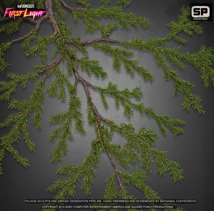 Infamous  木の葉テクスチャをZbrushのFiberMeshで作成。