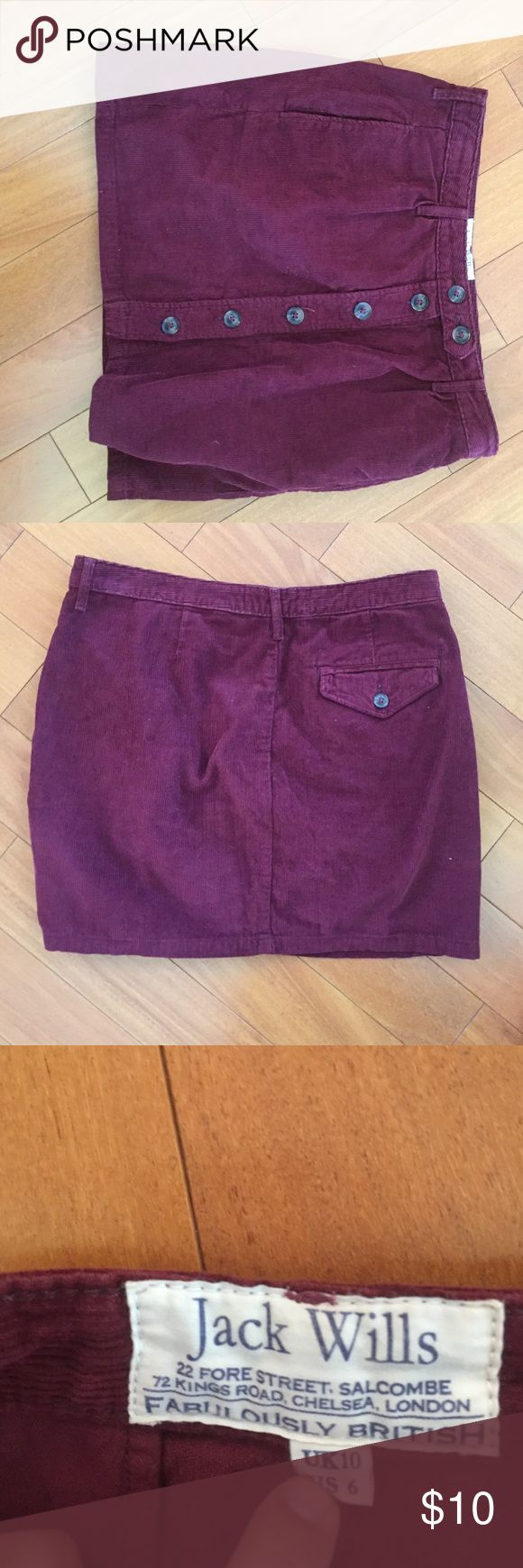 Jack Wills maroon corduroy skirt with buttons gently worn, maroon corduroy Jack Wills Skirts Mini