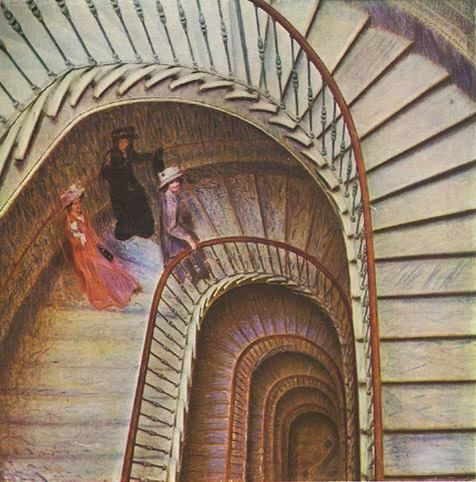 "Stairway of Farewells, 1908, Giacomo Balla Balla here studies the infinite ""motion"" of the stairs juxtaposed against the motionless figures. Beautiful stairway art -"