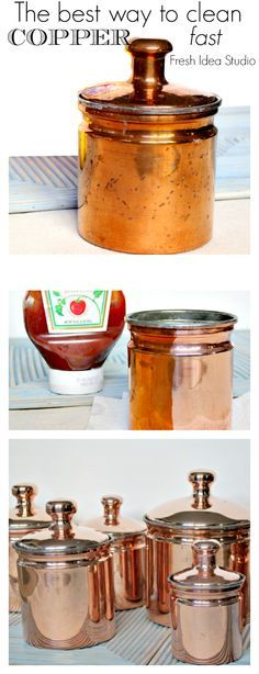 The best way DIY tip from Fresh Idea Studio How to clean copper fast! using something you already have in your fridge #DIY #cleaningtips