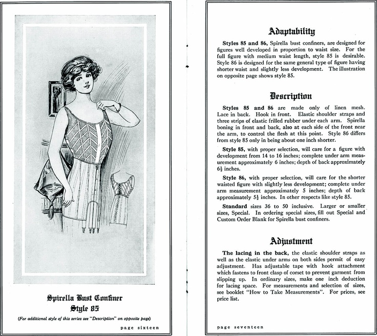 Spirella brassiere from http://commons.wikimedia.org/wiki/File:SpirellaAccessories1913page16_17.png: Spirella Brassiere, Early Brassiere, Ears Brassiere, Prints