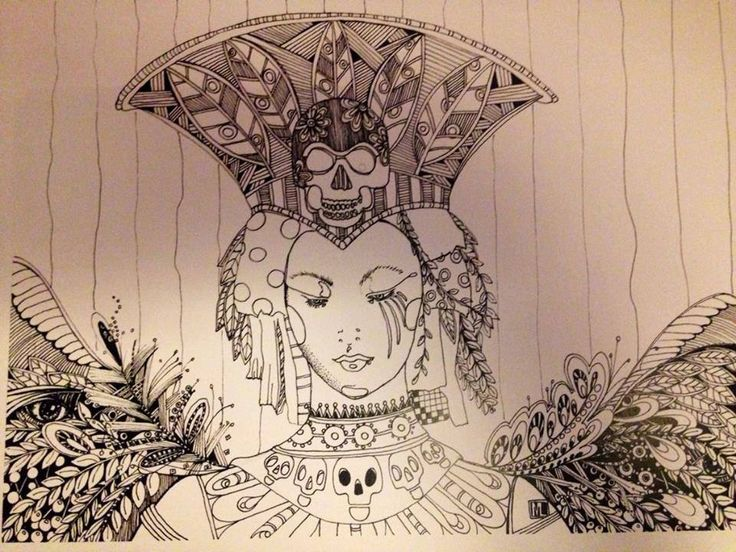 New to pinksupply on Etsy: adult coloring book page  goddess diy skulls craft halloween queen relaxation zentangle (6.50 USD)