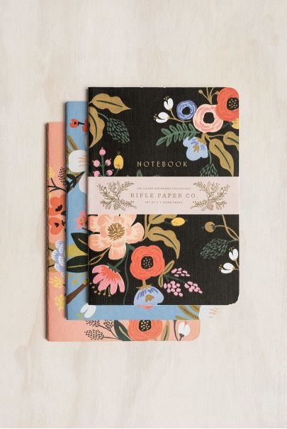 rifle paper co stitched notebooks set of 3 ruled large
