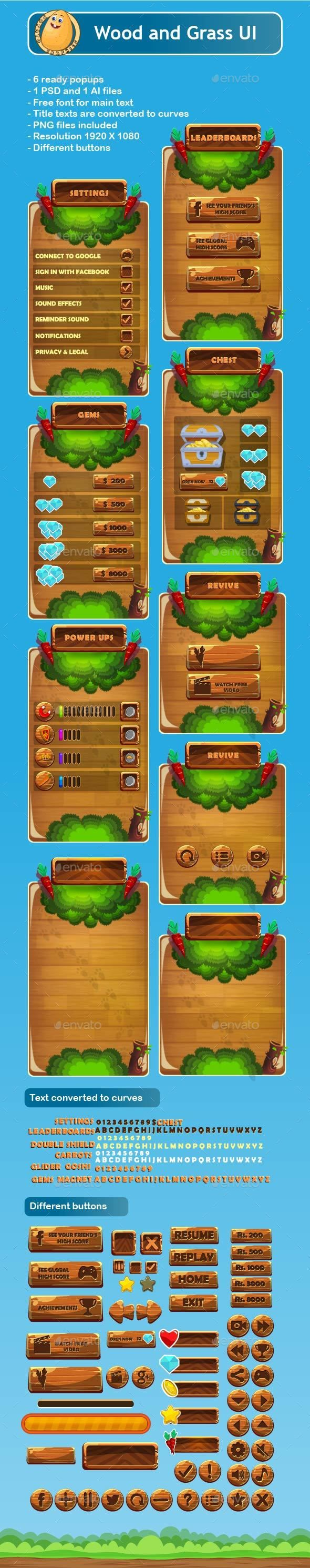 Wood and Grass Game UI | Download: https://graphicriver.net/item/wood-and-grass-game-ui/18057210?ref=sinzo #Interfaces #Game #Assets
