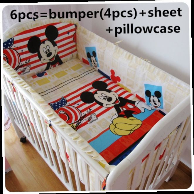 42.80$  Watch now - http://ali6r0.worldwells.pw/go.php?t=32517163609 - Discount! 6pcs Mickey Mouse Cotton Baby Bedding Set Newborn Cartoon Crib Bedding Detachable ,include(bumper+sheet+pillowcase) 42.80$