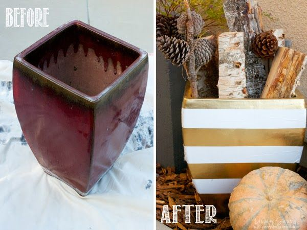 Gold And White Duct Tape Pottery