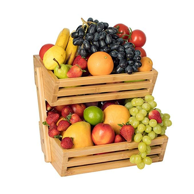 2 Tier Bamboo Fruit Basket Fruit Stand For Kitchen Countertop