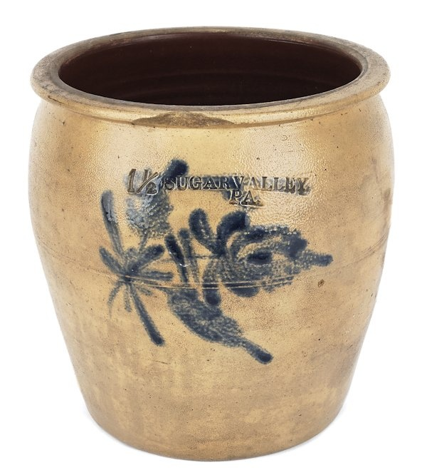 Sold For $ 1,100    Clinton County, Pennsylvania stoneware crock, 19th c., impressed Sugar Valley, with cobalt floral decoration, 8 3/4'' h.                            Condition report           2'' chip to rim that appears to be glazed and fired over. Two 1/2'' chips to rear edge of rim.