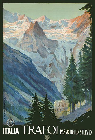T34 Vintage Italy Trafoi The Stelvio Pass Italian Travel Poster Re-Print A4