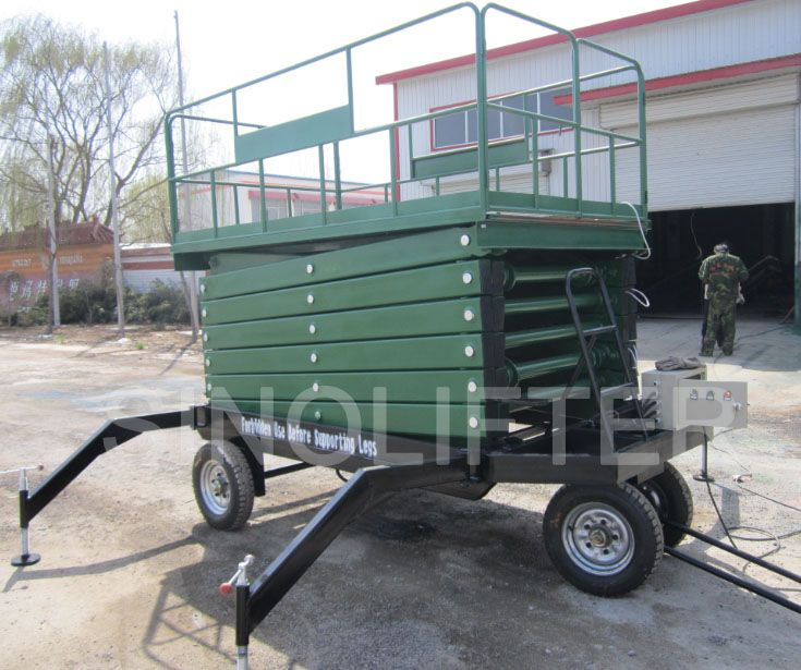 10m mobile scissor lift is powered by AC power. Or driven by battery or diesel. Moved manually. With dual controllers. (http://sinolifter.com/mobile-scissor-lift/hydraulic-lift-table-10m.html)