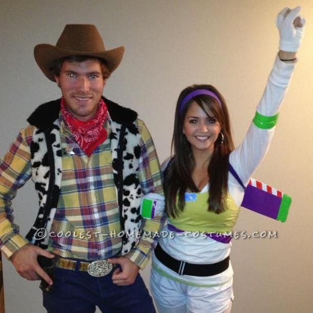 Easy Buzz Lightyear and Woody Couple Halloween Costume... This website is the Pinterest of costumes
