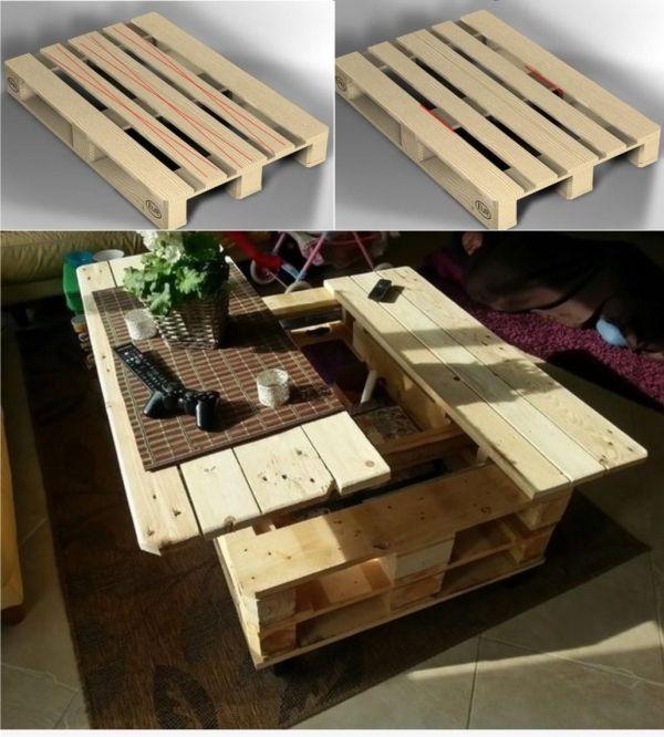 Pallet Coffee Table With Hidden Storage: Mesa Reutilizando Un Palé