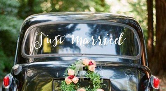 Just Married Getaway Car Sign Vinyl Wall Decal by Featherandbirch