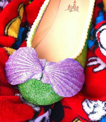 Ariel Gifts for Teen Girls:  Disney The Little Mermaid Ariel Cosplay Custom Seashell and Glitter Flats Shoes by Fairytale Midnight @ Etsy