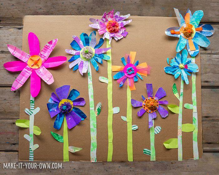 Paper Flower Garden Spring Crafts Activities Kids Collage