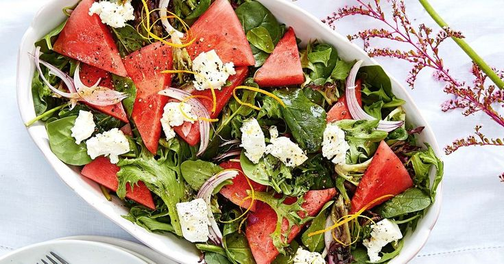 Throw together this fresh, watermelon and goat's cheese side salad in just 15 minutes or less.