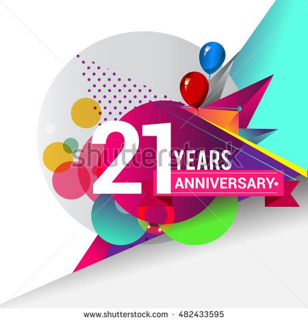 21 years Anniversary logo, Colorful geometric background vector design template…
