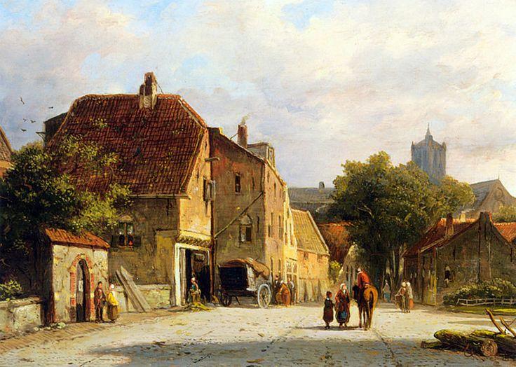 Adrianus Eversen - Figures In A Dutch Town.jpg