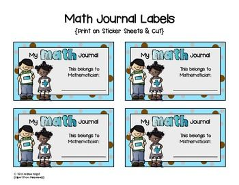 "I print these ""Math Journal Labels"" on solid white sheets of sticker paper and then cut them out with a paper cutter.  Finished, they're about the size of a small index card... just big enough to cover the white label on the black and white composition journals we use.  They would work just fine on a folder or spiral notebook, too.  Happy teaching!  :)    ** Clipart by Melonheadz"