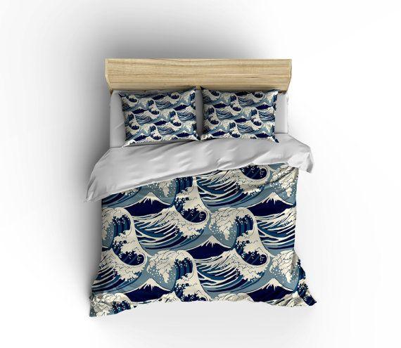 Nautical Duvet Cover Ocean Waves Bedding by xOnceUponADesignx