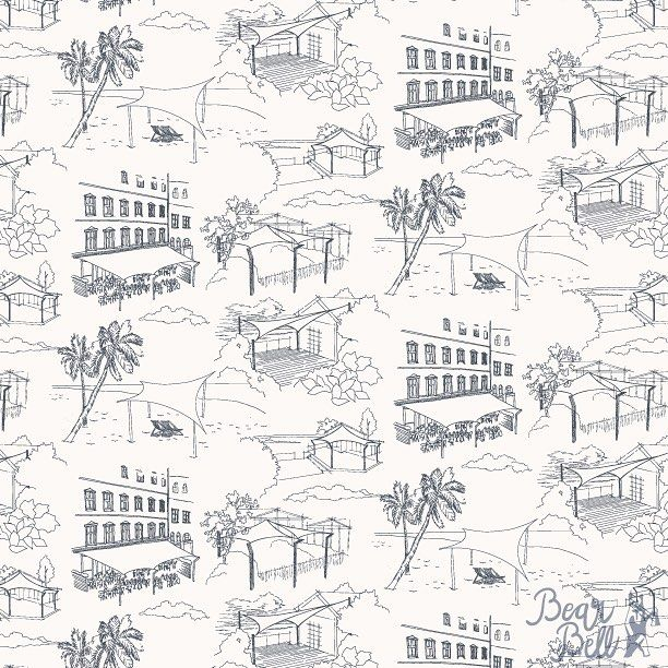 "I'm happy to share a commission pattern design I recently did for @designsegel to be used for a range  of marketing and communication materials. The pattern is in a Toile de Jouy style with 5 custom made illustrations or ""scenes"" that display their sunsai"