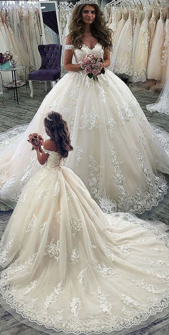 Elegant Off the Shoulder Courtroom Prepare Marriage ceremony Attire Bridal Robes with Appliques