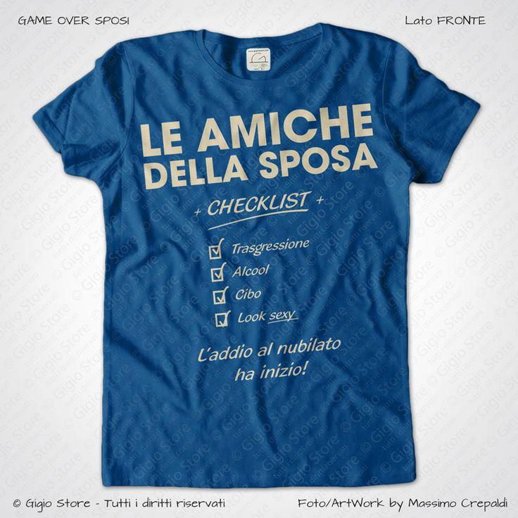 Magliette Addio al Nubilato Amiche della Sposa T-Shirt colore Blu Royal Stampa Personalizzata Crema Taglia XS, S, M, L, XL, XXL