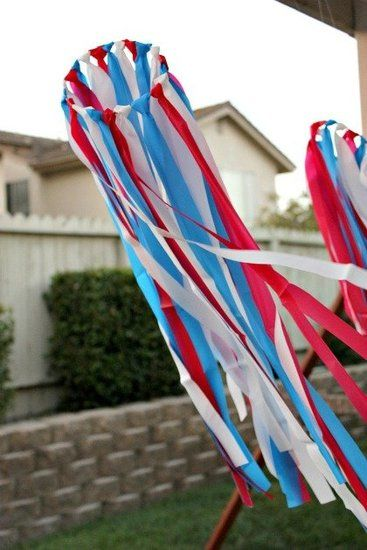 Colorful Streamers  Tonya Staab from Multiples and More came up with this patriotic streamers craft that uses lengths of plastic tablecloths. Perfect for honing your lil's knot-tying skills, this craft is also a lovely decoration.