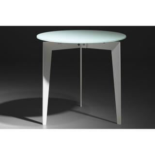 Table basse ronde DALLAS en verre dépoli blanc - 304€