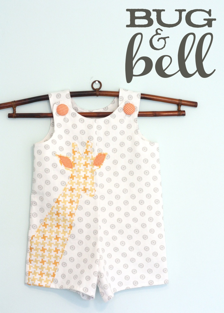 Boys Appliqued Giraffe Jon Jon Shortall - by Bug & Bell. $45.00, via Etsy.